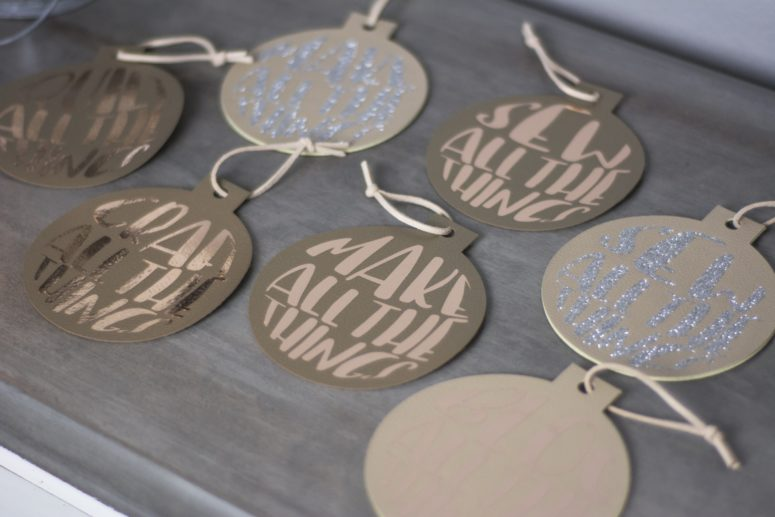 DIY neutral leather iron-on Christmas ornaments (via www.polkadotchair.com)