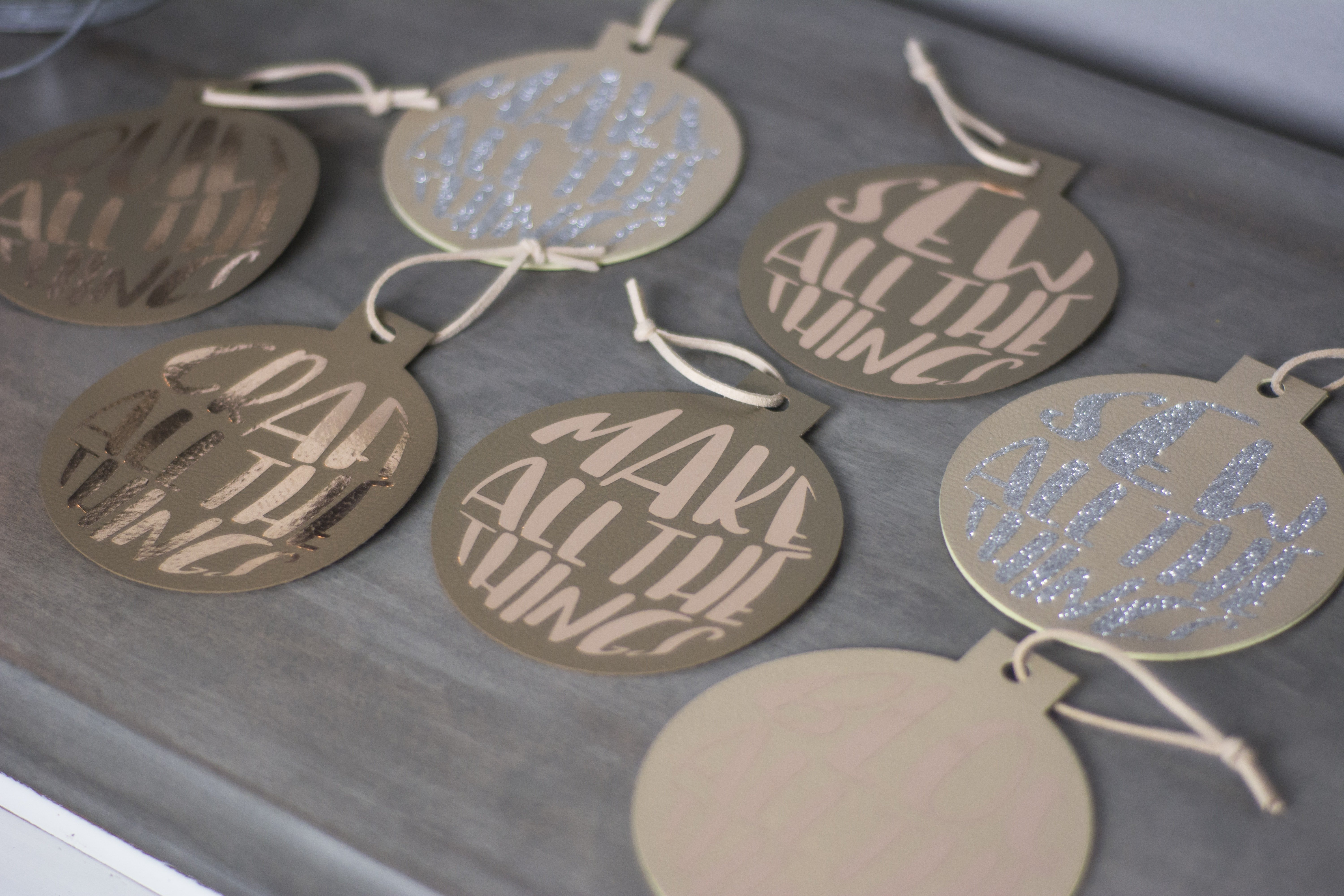 DIY neutral leather iron on Christmas ornaments