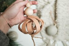 DIY tan 3D leather Christmas ornament with wooden beads