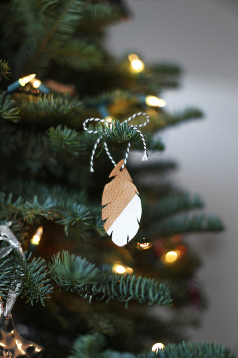 DIY boho leather feather Christmas ornament (via www.kristimurphy.com)