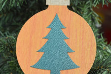 DIY leather Christmas bauble ornament