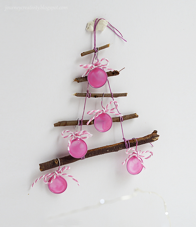 DIY bright pink Christmas ornaments of wire and paint