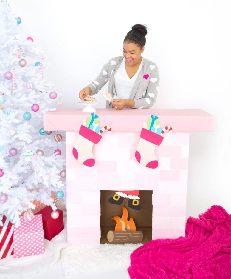 DIY pink cardboard fireplace for fun decor (via damasklove.com)