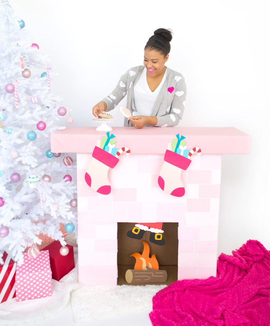 DIY pink cardboard fireplace for fun decor