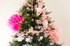 DIY pink tipped Christmas tree with paints