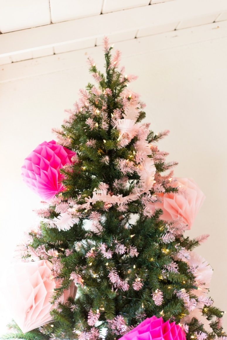 DIY pink tipped Christmas tree with paints (via lovelyindeed.com)