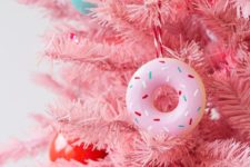 DIY pink donut Christmas ornaments of plaster