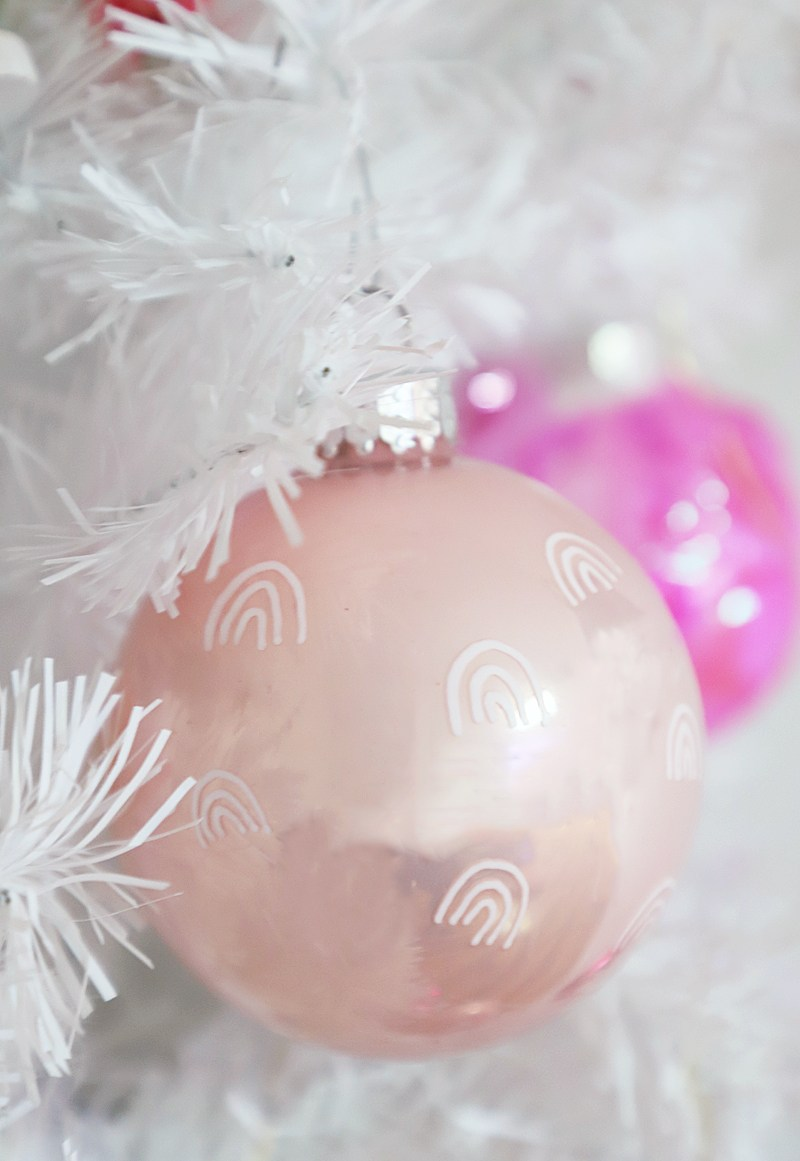 DIY light pink Christmas ornaments with rainbows