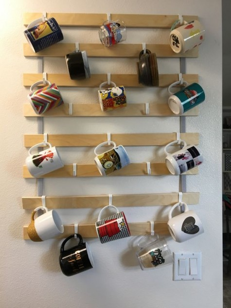 take a Luröy slatted bed base and Sunnersta hooks and make a comfortable mug organizer for your kitchen or home drink station