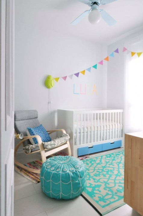 IKEA Stuva cot hacked with bold blue drawers that will give a touch of color and some storage space