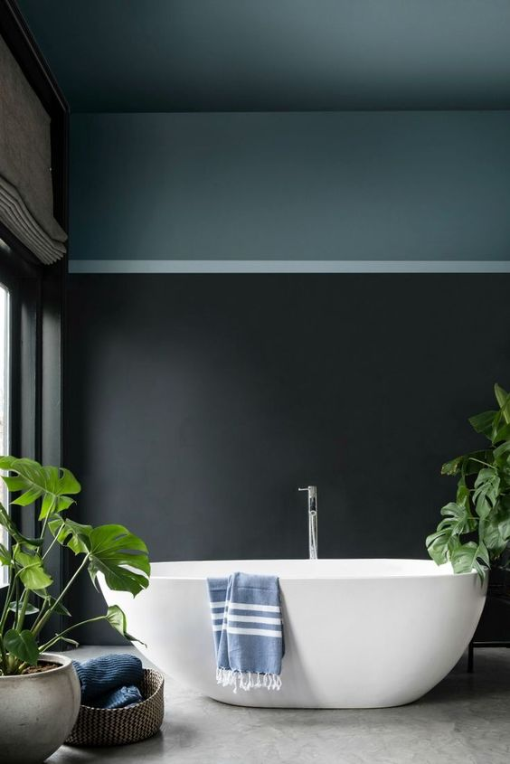 a contemporary moody bathroom done with color blocking and some fresh greenery to refresh the space