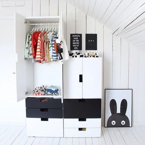 black and white IKEA Stuva plus a Totoro artwork for a Scandinavian kids' room