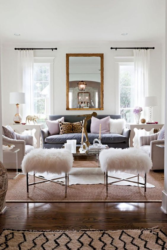 nickel, gold and copper mixed to spruce up this cozy chic eclectic living room