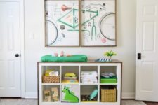 12 an IKEA Kallax shelf wrapped with stained wood and turned into a stylish changing table in rustic style