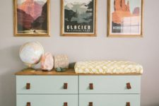 13 an IKEA Tarva dresser hack with light-colored wood countertop and bottom and legs and leather pulls