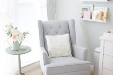 15 a Strandmon rocker by IKEA hacked for the nursery in dove grey to match the colors