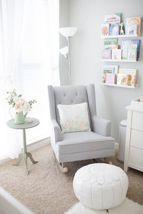 a Strandmon rocker by IKEA hacked for the nursery in dove grey to match the colors