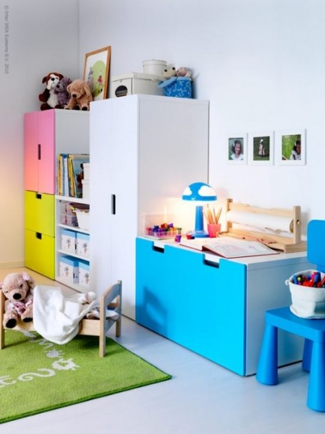a kid's room done with colorful IKEA Stuva cabinets - what can raise the mood better than that