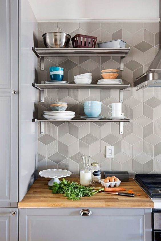 chic grey geometric tiles will raise your kitchen backsplash to a new level