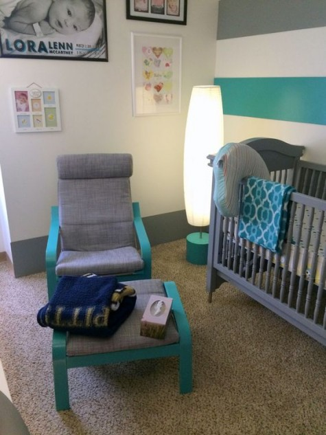 a grey Poang chair painted turquoise to match the nursery color scheme perfectly