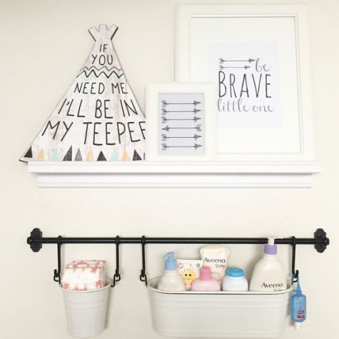 a comfortable supply shelf made of an IKEA shelf and rails are great for every nursery