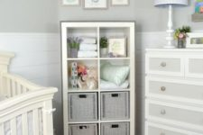 20 a Kallax shelving unit with basket drawers is a stylish idea for a rustic nursery