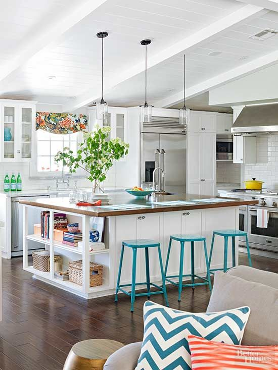 turquoise stools for the breakfast space are a cool and bright accent for the kitchen design