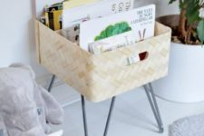 22 an IKEA Bullig box on hairpin legs is a cool idea for storing kids' books or some other small stuff