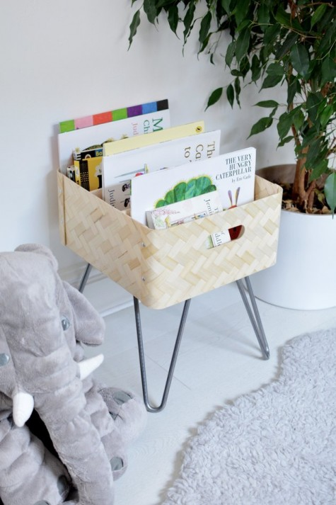 an IKEA Bullig box on hairpin legs is a cool idea for storing kids' books or some other small stuff