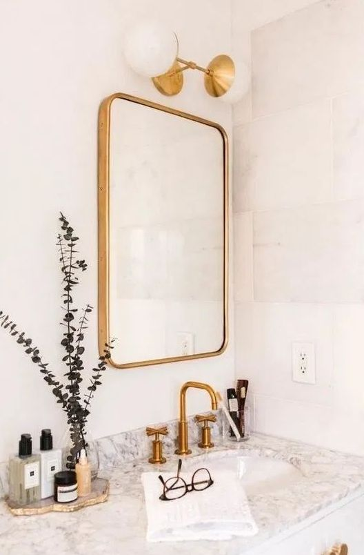 matte brass fixtures are pure elegance, to give a refined touch to the space