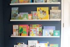 25 IKEA Ribba ledges are great for displaying your kids' favorite books easily and they don't require hacking