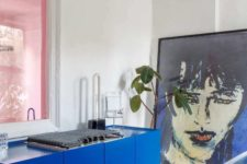 26 spruce up your kitchen with classic blue cabinets and a kitchen island to make it look wow