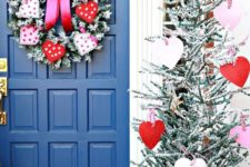 a flocked Valentine tree with white, pink and red hearts on checked loops and a matching wreath