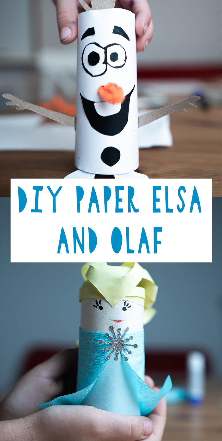 DIY Paper Olaf And Elsa From Frozen For Kids