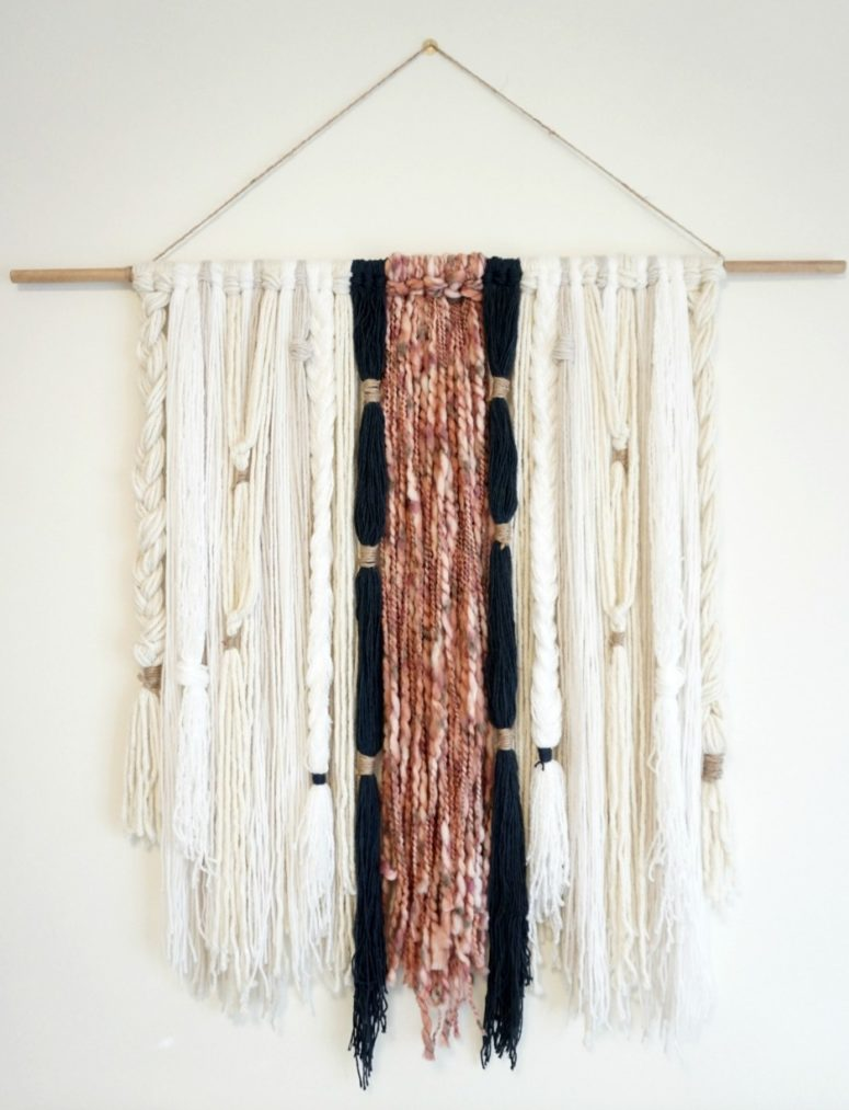 DIY modern boho yarn wall hanging with braids (via forresterhome.com)