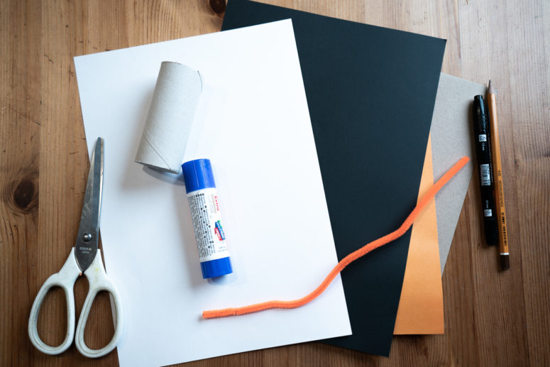 The supplies are a toilet paper roll, black, white and brown paper, orange chenille wire, a marker, glue, scissors and a pencil.