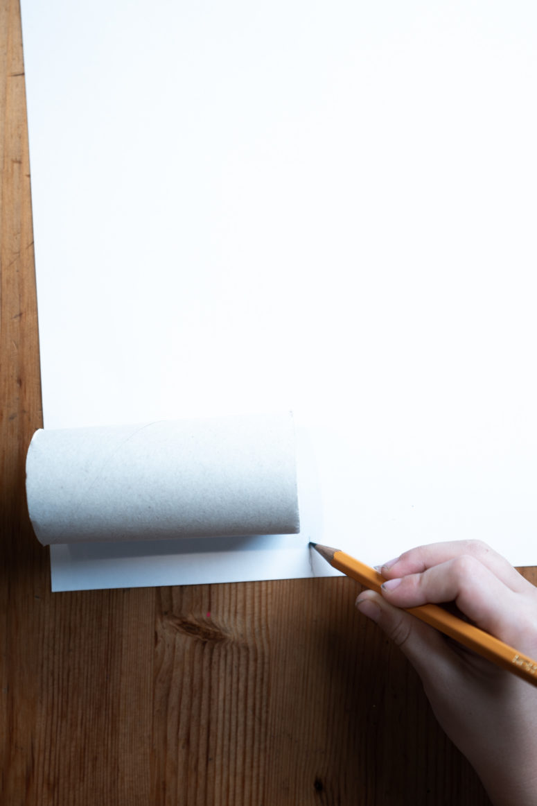 First, cut out a rectangle of white paper making it of the same height as the toilet paper roll, and its length should be enough to wrap it completely.