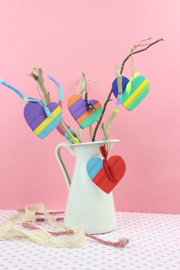 DIY colorful wooden Valentine heart ornaments done with tape (via www.efzincreations.com)