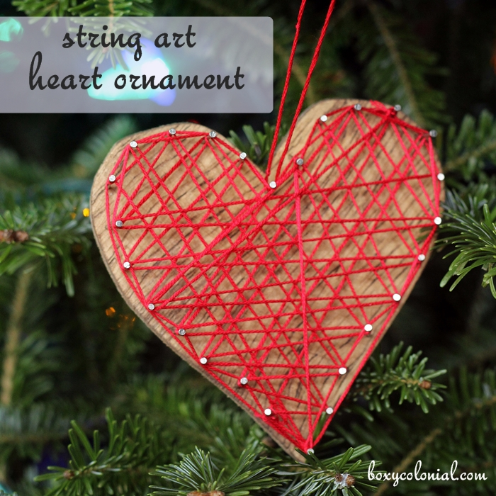 DIY string art heart Valentine ornaments (via boxycolonial.com)