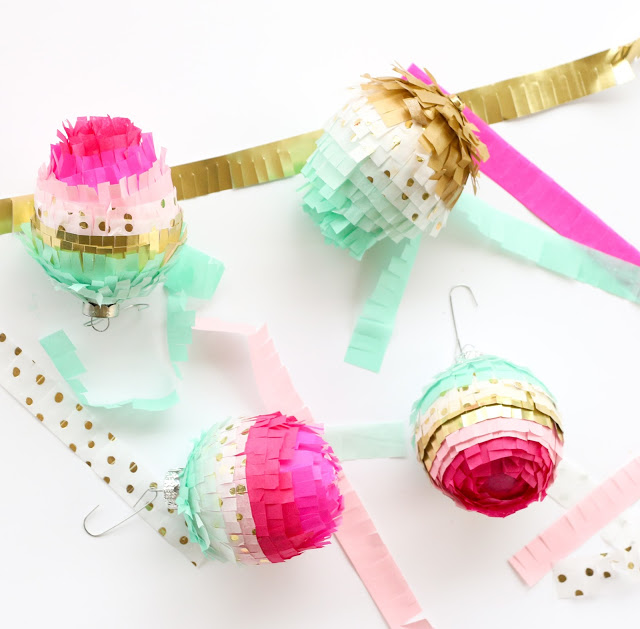 DIY colorful fringe Valentine ornaments (via akailochiclife.com)