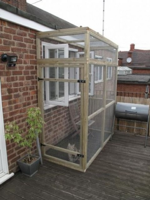 a small cat enclosure for a balcony - a wood and chicken wire construction plus some furniture inside