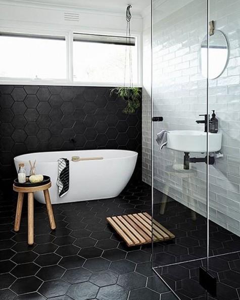Trendy Hexagon Tile Ideas For Bathrooms
