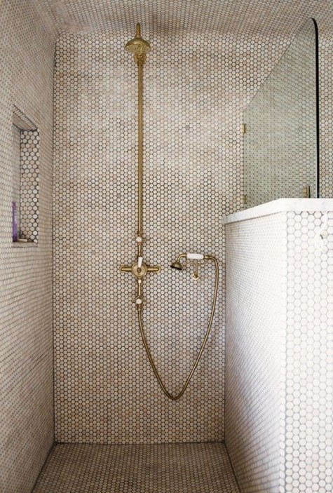 tan penny tiles paired with brass fixtures make the shower space look very chic and very warming up and welcoming