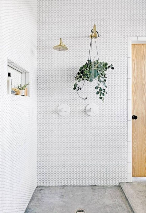 white penny tiles and concrete floors look very eye-catchy, gold fixtures and greenery add chic to the space