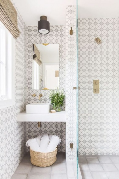 chic patterned mosaic tiles on the walls and neutral light grey ones on the floor