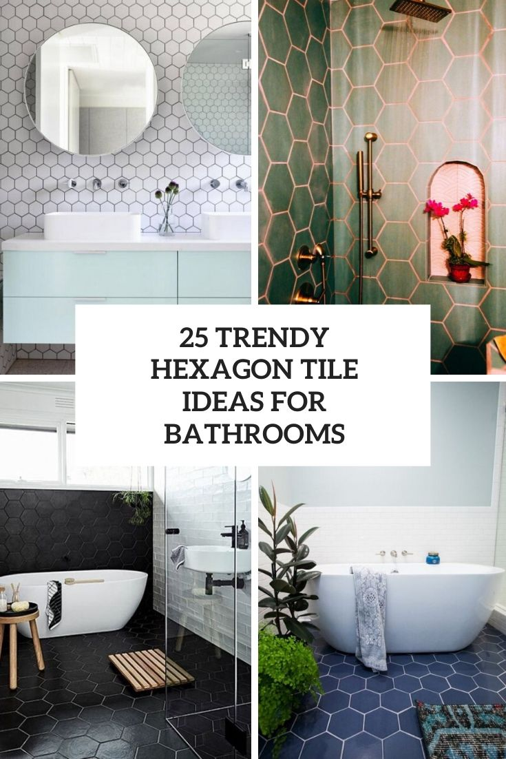 trendy hexagon tile ideas for bathrooms cover