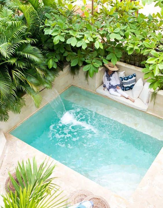 a natural southern backyard with a plunge pool with a waterfall, tropical plants and trees and a built-in bench
