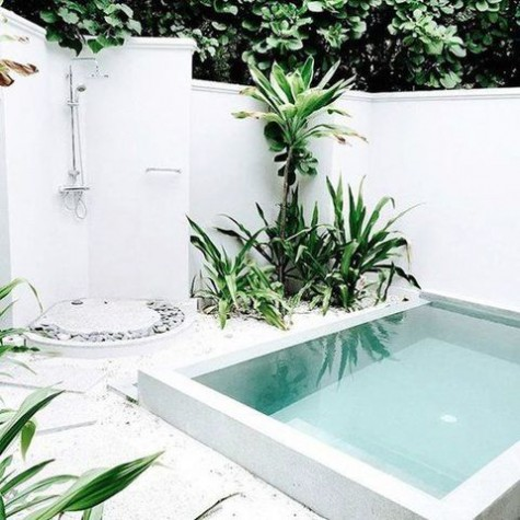 a white tropical backyard with an outdoor shower with pebbles, tropical plants and trees growing and a plunge pool clad in white