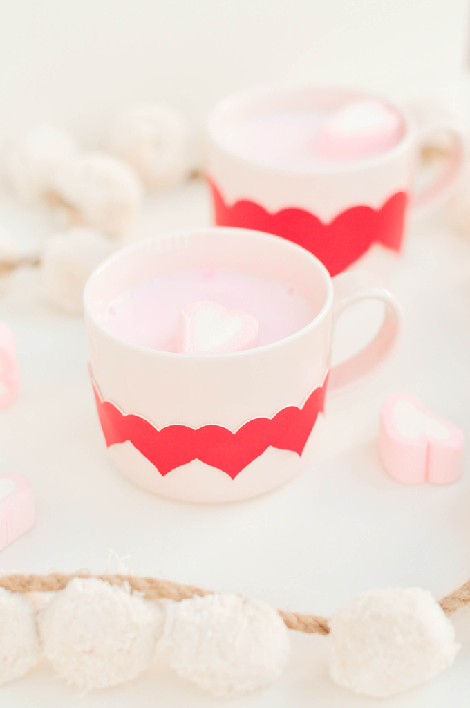 DIY Valentine's Day mug with a heart line wrap