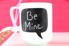 DIY Valentine's Day mug with a chalkboard part
